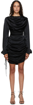 MATÉRIEL Black Draped Short Dress