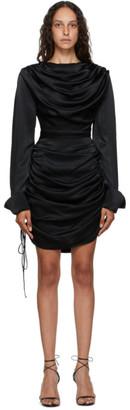 MATÉRIEL Black Draped Short Dress
