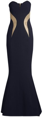 Rebecca Vallance Lucienne Bonded Crepe Strapless Mermaid Gown