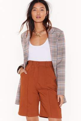 Nasty Gal Womens Longline No See High-Waisted Tailored Shorts - beige - 8