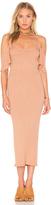 Enza Costa Stretch Silk Rib Flutter Sleeve Dress