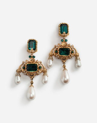 Dolce & Gabbana Drop Earrings With Decorative Rhinestone And Pearl Details