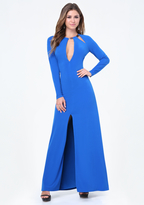 Bebe Neck Trim Open Back Gown