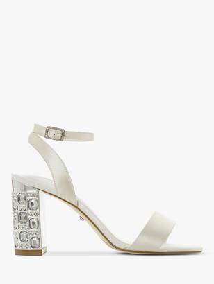 Dune Bridal Collection Mine Satin Jewelled Block Heel Sandals, Ivory