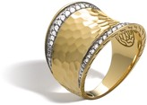 John Hardy Classic Chain Saddle Ring in Hammered 18K Gold with Diamonds