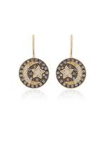 Sydney Evan Small Moon & Star Medallion Earrings
