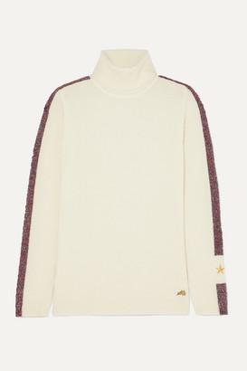 Bella Freud Futuristic Metallic Striped Merino Wool-blend Turtleneck Sweater - Ivory