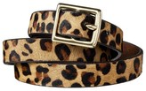 Merona Women's Leopard Print Calf Hair Belt - Brown & Tan