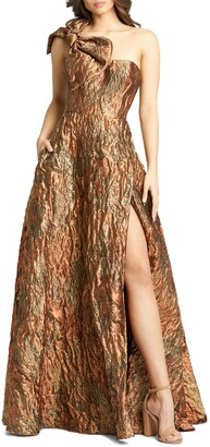 Mac Duggal One Shoulder Bow Detail Jacquard A-Line Gown