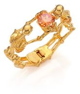 Alexander McQueen Twin Skeleton Crystal Bracelet/Goldtone