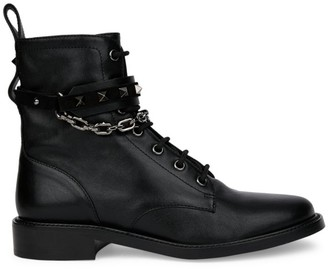 Valentino Rockstud Chain Leather Combat Boots