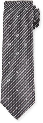 Salvatore Ferragamo Levan Gancini Chain-Print Tie, Black