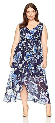 Sangria Women's Plus Size V-Neck Floral Print Chiffon Maxi