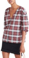 Madewell Women's Morningview Plaid Tie Sleeve Shirt