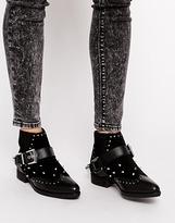ASOS AQUARIUS Embellished Leather Ankle Boots - Black
