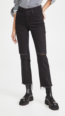 Good American Good Straight Fray Hem Jeans