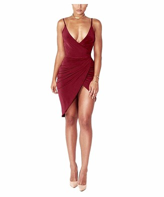 DRESHOW Women's Sexy Deep V Neck Sleeveless Spaghetti Strap Bodycon Wrap Dress Front Slit Bandage Midi Club Dress