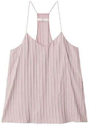 Tibi Stripe Viscose Twill Classic Cami in Dusty Pink Multi