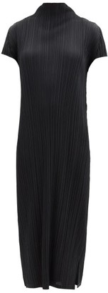 Pleats Please Issey Miyake Pleated High-neck Midi Dress - Black