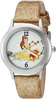 Disney Girl's 'Beauty and Beast' Quartz Stainless Steel and Leather Automatic Watch, Color:-Toned (Model: W002923)