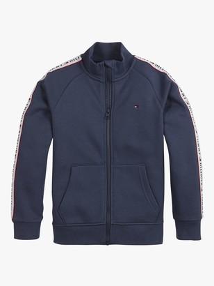Tommy Hilfiger Boys' Organic Cotton Blend Logo Tape Zip Through Sweatshirt, Twilight Navy