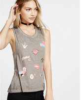 Express one eleven patch print muscle tank