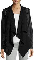 philosophy Faux-Leather Open-Front Jacket, Black