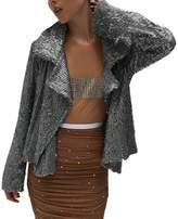 Norma Kamali Women's All Over Sequin Jacket - Gunmetal
