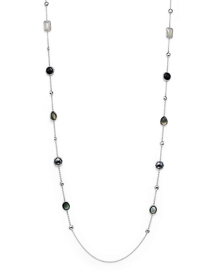 Ippolita Sterling Silver Rock Candy® Medium Stone with Beads Station Necklace in Black Tie, 42""