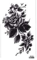 King Horse Black Flowers Body Art Temporary Tattoo Sticker