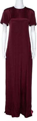Valentino Burgundy & Pink Silk Paneled Maxi Dress S