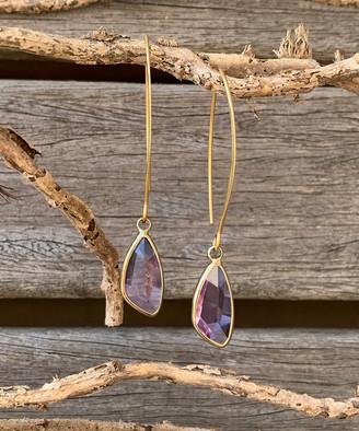 Rue Dluxe Rue DLuxe Women's Earrings Purple - Purple Austrian Crystal & 14k Gold-Plated Teardrop Earrings