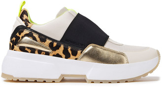 MICHAEL Michael Kors Leather, Canvas And Leopard-print Calf Hair Sneakers