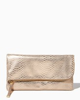 Charming charlie Faux Snakeskin Foldover Clutch