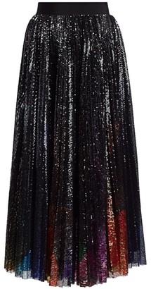 MSGM Sequin Pleated Midi Skirt