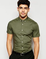 Asos Skinny Shirt With Button Down Collar And Short Sleeves In Dusty Olive