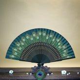 Bamboo Silks Hand Fan With Peacock Feather Handheld Fan, Chinese /Japanese Vintage Retro Style Silk Hand Fan Peacock Pendant Tassel Bamboo Art Folding Fan for Kimono Sensu Wedding Fan (F)