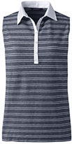 Lands' End Women's Petite Sleeveless Polo Shirt-Golden Sunflower Stripe