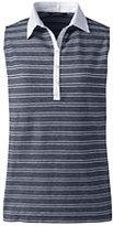 Lands' End Women's Petite Sleeveless Polo Shirt-White Stripe