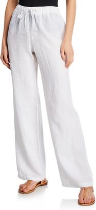 120% Lino Drawstring-Waist Wide-Leg Linen Beach Pants