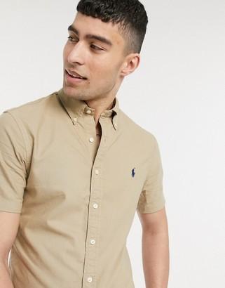 Polo Ralph Lauren short sleeve slim fit oxford shirt buttondown player logo in tan