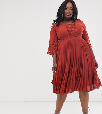 Asos DESIGN Curve midi dress with pleated skirt and lace insert kimono sleeve