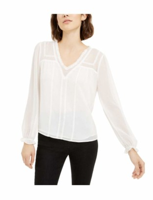 1 STATE Womens White Long Sleeve V Neck Evening Top Size: S