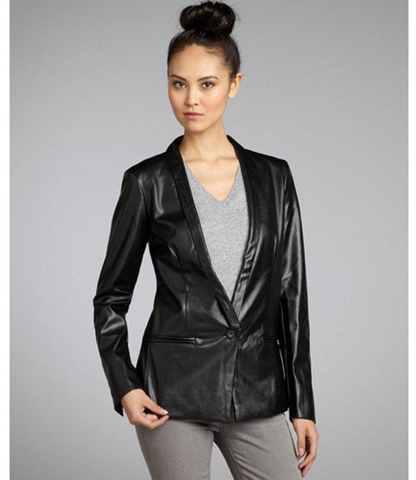 Walter black faux leather one-button blazer