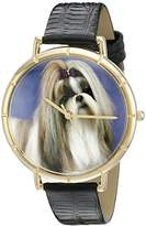 Whimsical Watches Shihtzu Black Leather and Goldtone Photo Unisex Quartz Watch with White Dial Analogue Display and Multicolour Leather Strap N-0130069