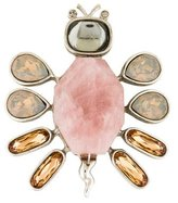 Oscar de la Renta Rose Quartz Butterfly Brooch