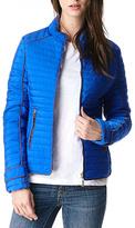 Royal Blue Contrast-Trim Zip-Up Puffer Coat