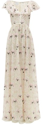 Giambattista Valli Floral-embroidered Chantilly-lace Tulle Gown - Womens - Ivory Multi