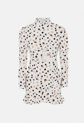 Missguided Petite White Spot Print High Neck Cut Out Mini Dress