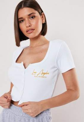 Missguided White Los Angeles Ribbed Crop Top